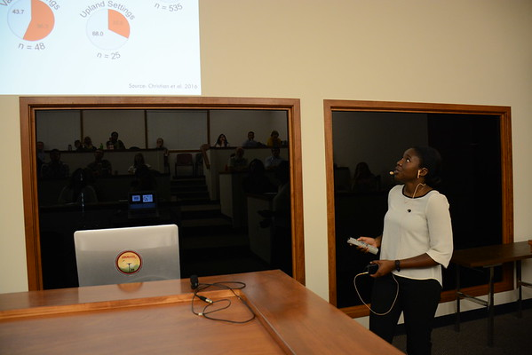 2016 RESESS intern Crystal Burgess presents her summer research during a colloquium held at UNAVCO on July 27, 2016. (Photo/Beth Bartel, UNAVCO)