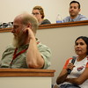 2012 RESESS intern Jenny Nakai asks a question during the 2016 RESESS intern colloquium presentations held at UNAVCO on July 27, 2016. (Photo/Beth Bartel, UNAVCO)
