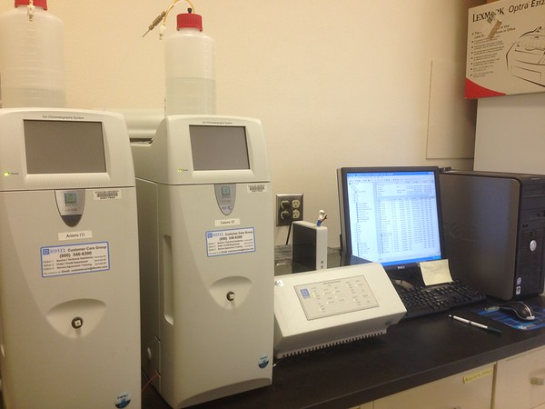 Major dissolved ions were measured using ion chromatography at Syracuse University.<br /> Photo Credit: Crystal Burgess