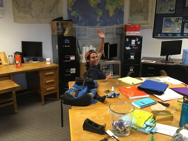 Enrique at his desk in the Benson Earth Sciences Building, CU Boulder<br /> (Photographer: Cait Bresser)