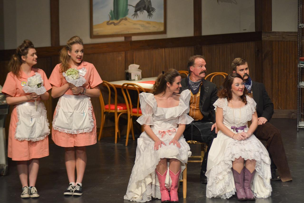 Bridesmaids- Bess (Abby Quman) Jess (Sydney Hardin) Brides- Flodalucy (Julia Turnbull) Dorabeulla (Julia DeSerio) Grooms- Bill-Bubba (Stafford Turner) T-Frankie (Ian Desmit)