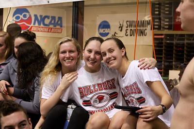 Freshman Carol Zangla, Anna Banick, and Emily Nordberg watching finals Photo by Tessa Walsh