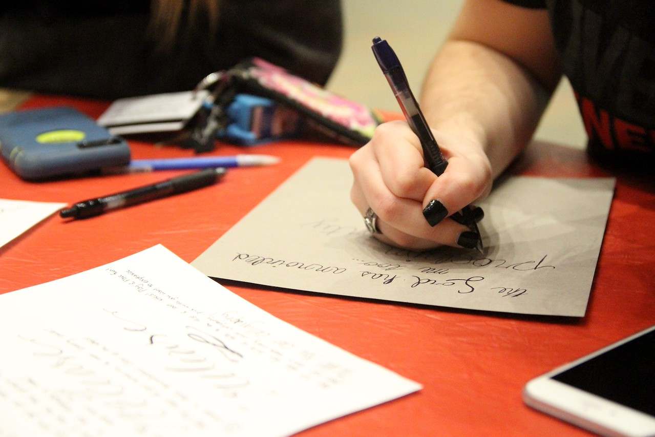 Students at the Release Calligraphy event got a lesson in hand lettering using the verse Isaiah 61:10.