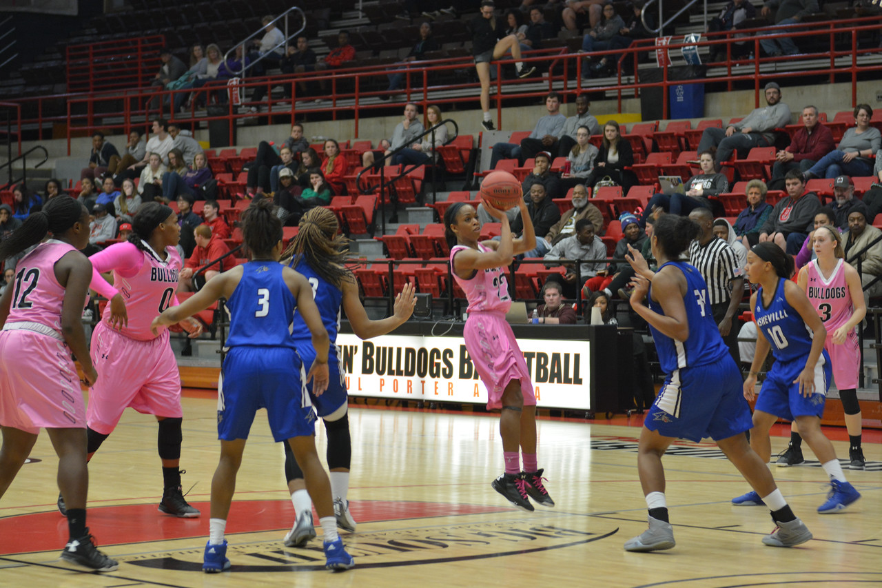 Number 22, Candace Brown shooting the ball