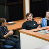 RESESS interns learn about geodesy and field engineering from a panel of UNAVCO staff at the UNAVCO Boulder facility on Friday, May 27, 2016. On the panel, from left to right: Marianne Oka, Nicolas Bayou, Annie Zaino. (Photo/Beth Bartel, UNAVCO)