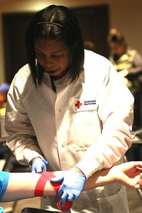 All of the nurses and volunteers were happy to help and smiling while drawing blood and helping in other ways.