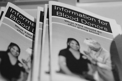 Booklets provided by Red Cross to inform the blood donors of extra information they may need to know.
