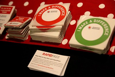 Stickers and information provided to the donors was sitting on the welcome table at the entrance of Ritch.