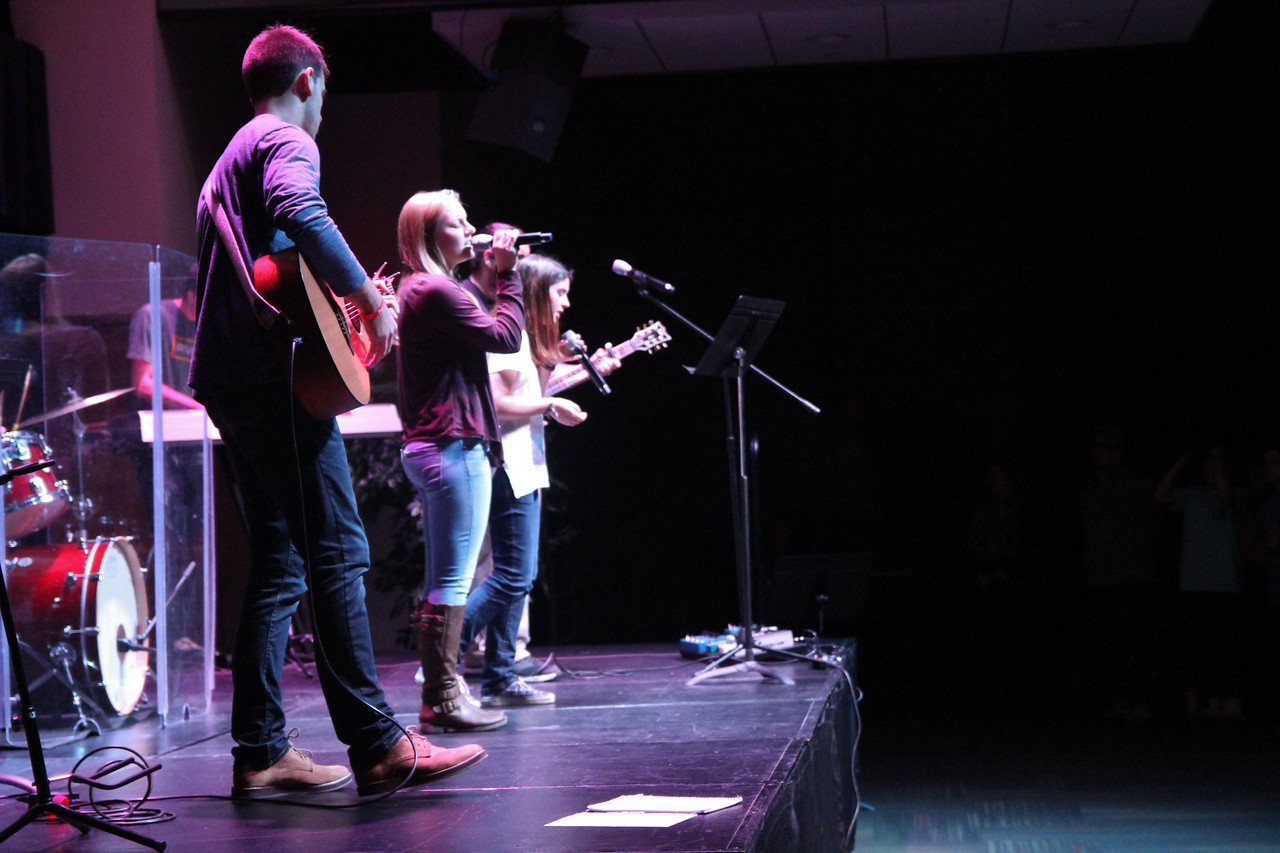 The gathering band led the crowd in worship at Tuesday night's celebration week service.