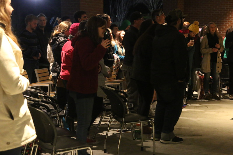 Despite the freezing temperatures, many students came out to worship on the back patio of the Tucker Student Center on Monday January 25th for Bundle up for Worship.