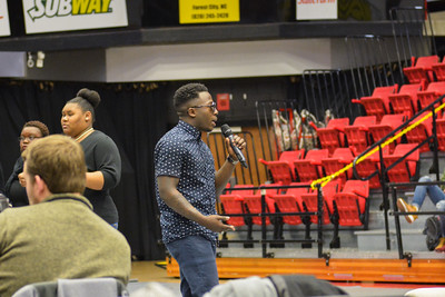 Davon singing Glory from the movie Selma for the gospel choir.