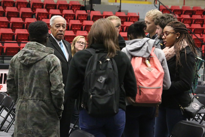 Many students stayed after Dimensions to meet and speak with Dr. Albert Brinson. Some students stayed for an hour waiting to speak with him.