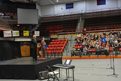 Students listening to Dr. Albert Brinson.