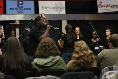 """The Gospel Choir started off the Tuesday morning Dimensions by performing the song """"Glory"""" from the award winning movie, Selma, about the life and legacy of Dr. Martin Luther King Jr."""
