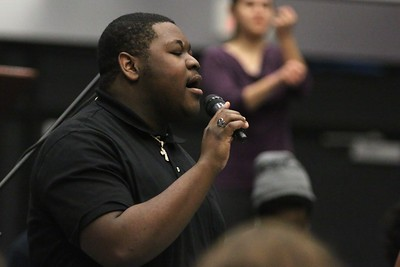 "Darius, GWU Freshman, led the Gospel Choir in the song ""Glory"" from the famous movie Selma before Dr. Albert Brinson spoke at Dimensions."