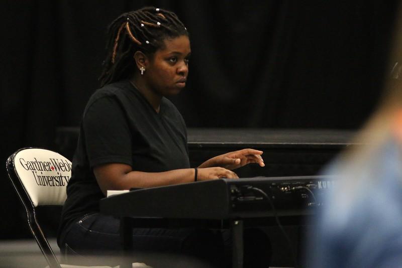 Heaven, GWU Senior, accompanied the Gospel Choir by playing the keyboard.