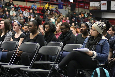The Gospel Choir, along with hundreds of other GWU students and faculty members, sat and listened to Dr. Albert Brinson during Dimensions after their performance.