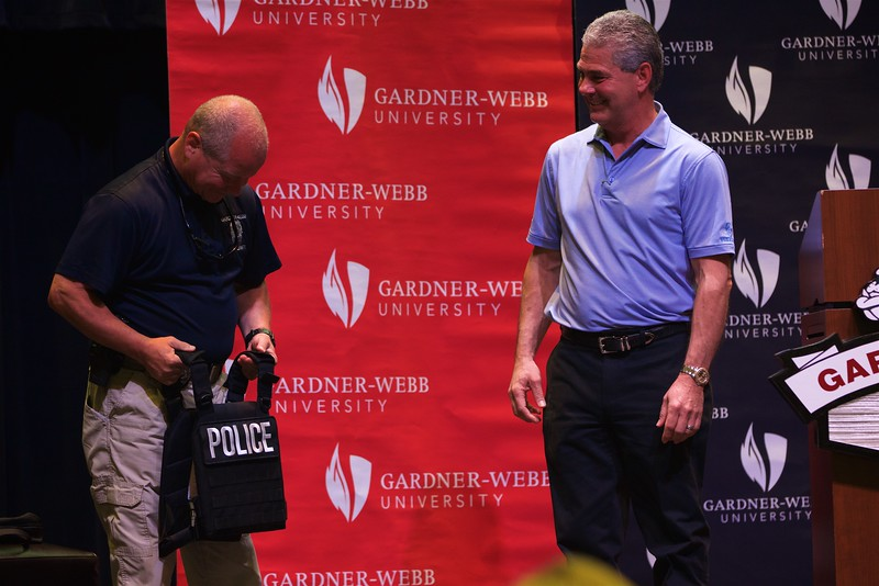 Frank Stewart presents Premier Body Armor to members of the Gardner-Webb University Police force.