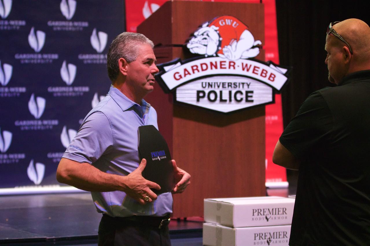 Frank Stewart presents Premier Body Armor to members of the Gardner-Webb University Police force.
