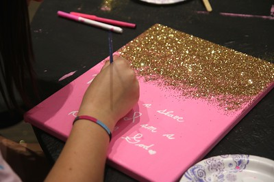 Student Activities provided so many mediums such as paint and glitter for students to use.