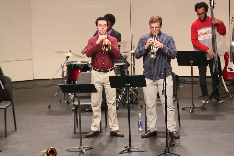 Robbie Collins and Michael Brotherton Rocking out on the Trumpets