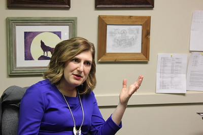 Dr. Sieges Beal discussing the drawing above her hand