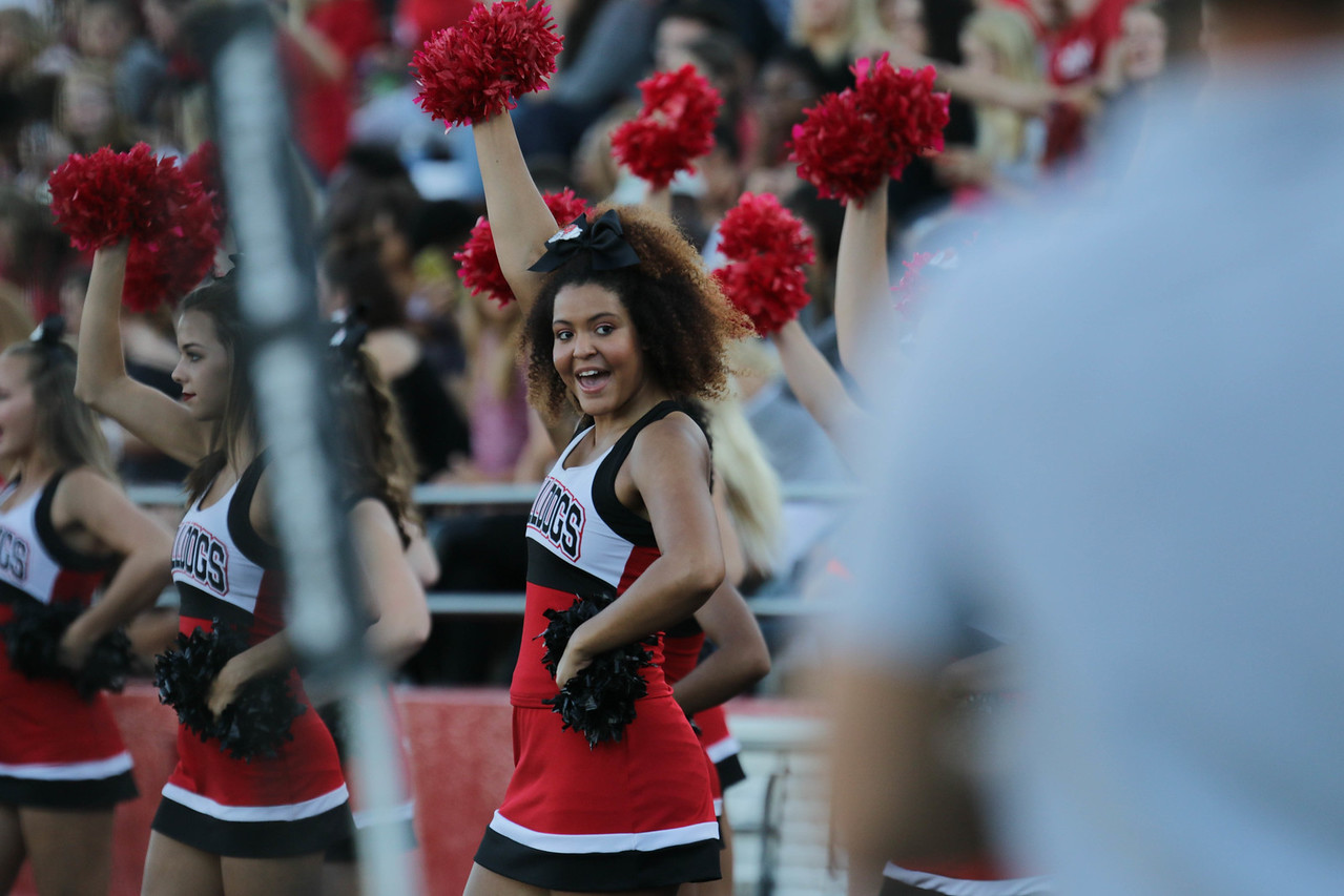Sophomore, first year Cheerleader, Cassandra Clark cheers on the Runnin' Bulldogs.