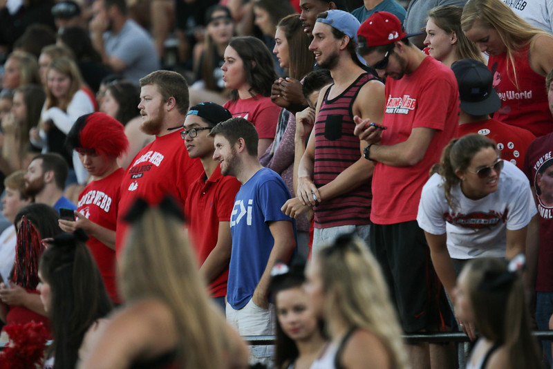 Students filled the students section in Spangler Stadium in support of their Runnin' Bulldogs.