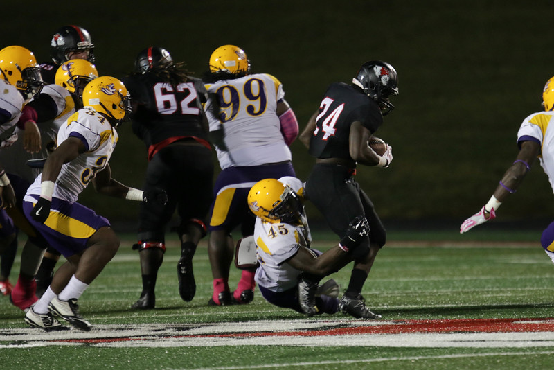 #24, Khalil Lewis escapes with the ball.