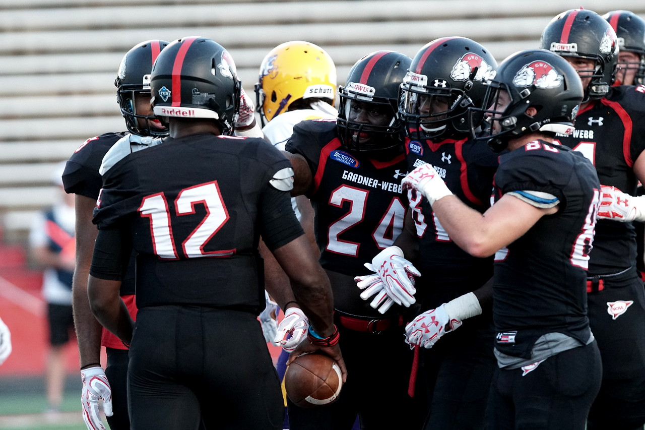 Tyrell Maxwell celebrates with his team after scoring a GWU touchdown. -Taken by Ashley Falls