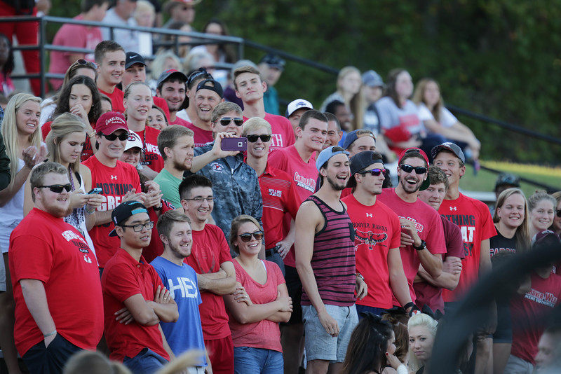 Students filled the student section of Spangler stadium to support their Runnin' Bulldogs.