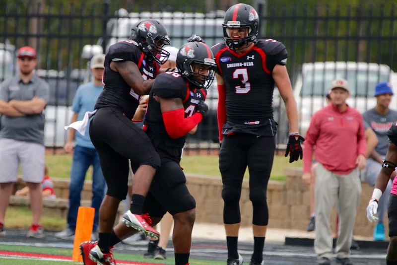 Gardner-Webb celebrates after a touchdown!