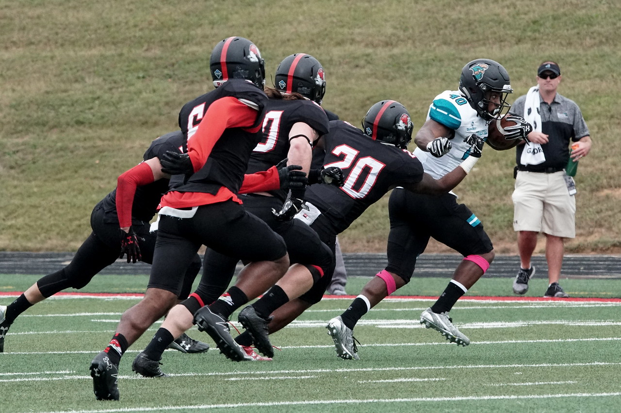 Bulldogs chase a Costal player.