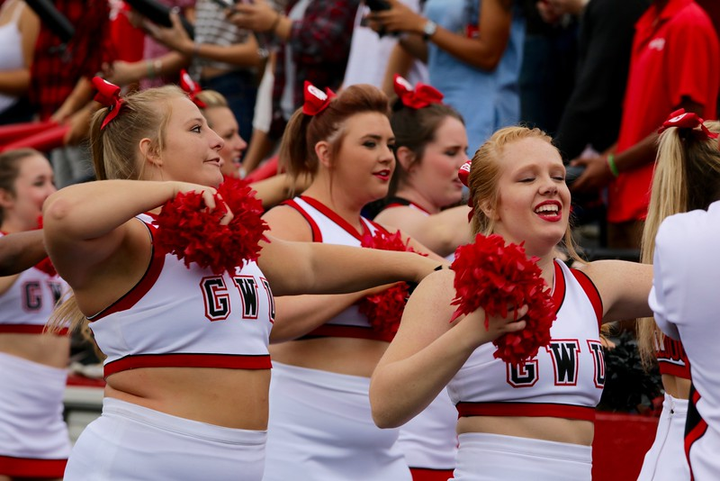 Gardner-Webb cheerleaders support their team on the side.