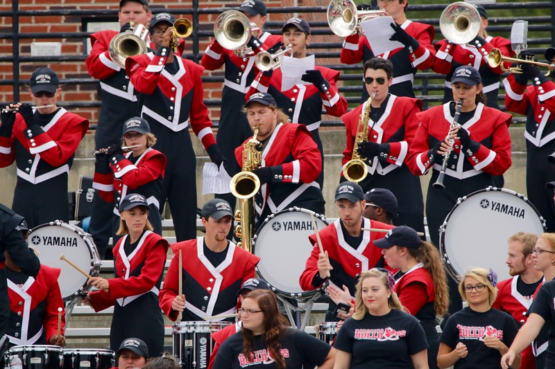 Gardner-Webb Marching Band plays on the sidelines.
