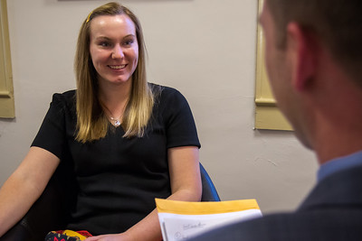 Students engage in mock interviews with local area businesses as part of a professional readiness program by the office of Career Development