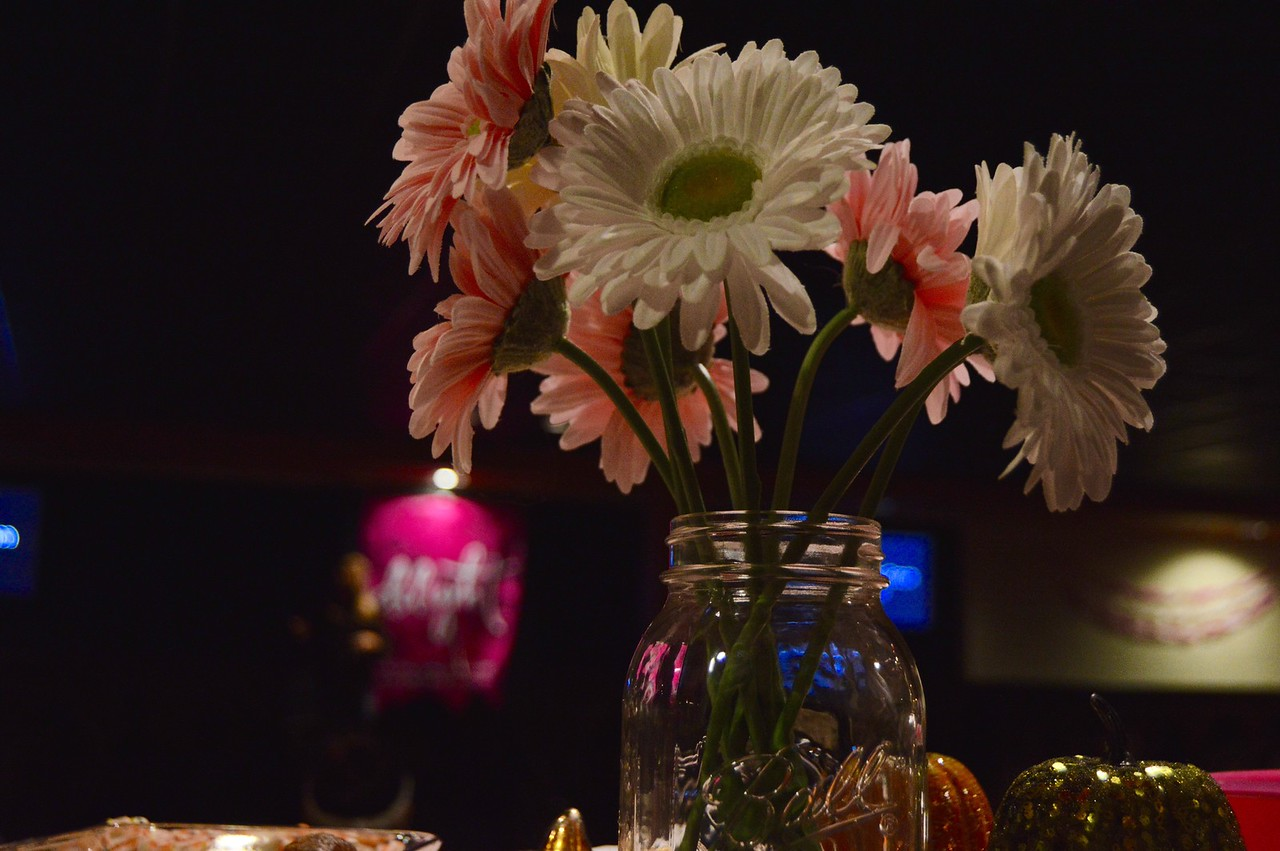 """Flowers add some """"Delight"""" to the room.  Delight  October 19,2016 Photo By: Hannah Anders"""