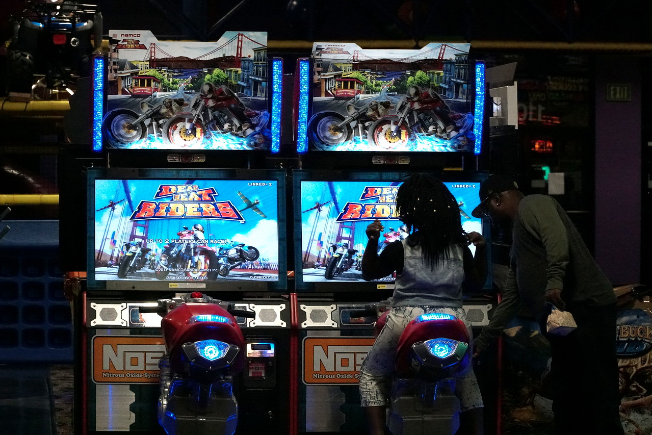 Many students played arcade games, such as racing.