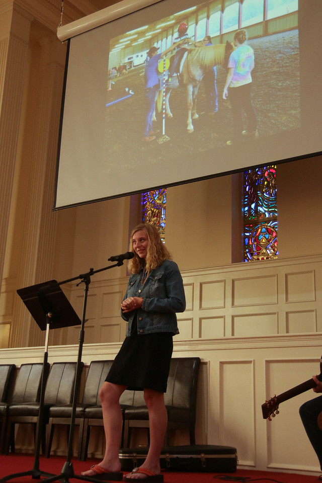 After worship on Saturday morning, GWU Junior and CMU Outreach Co-coordinator, Caroline Williams, shared a powerful story of how a horse named Profit was an example of a servant in her life.