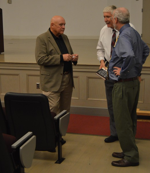 Dr. Kimbell answers some questions and signs a book after his lecture . September 20, 2016