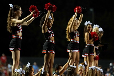 The excited cheerleaders after a touchdown.