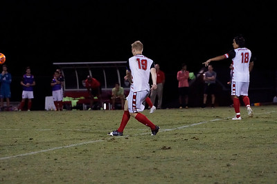 Simen Olsen, #19, follows through on his kick up the field.  Gardner Webb v. Furman 9/13/16