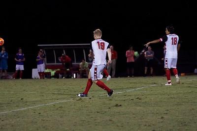 Simen Olsen, #19, follows through on his kick up the field.  Gardner Webb v. Furman 9/13/16