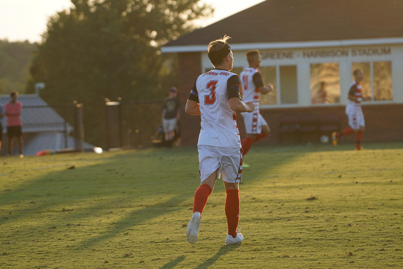 Isak Reinhardsen, #3, runs to get into position as the game starts.  Gardner Webb v. Furman 9/13/16