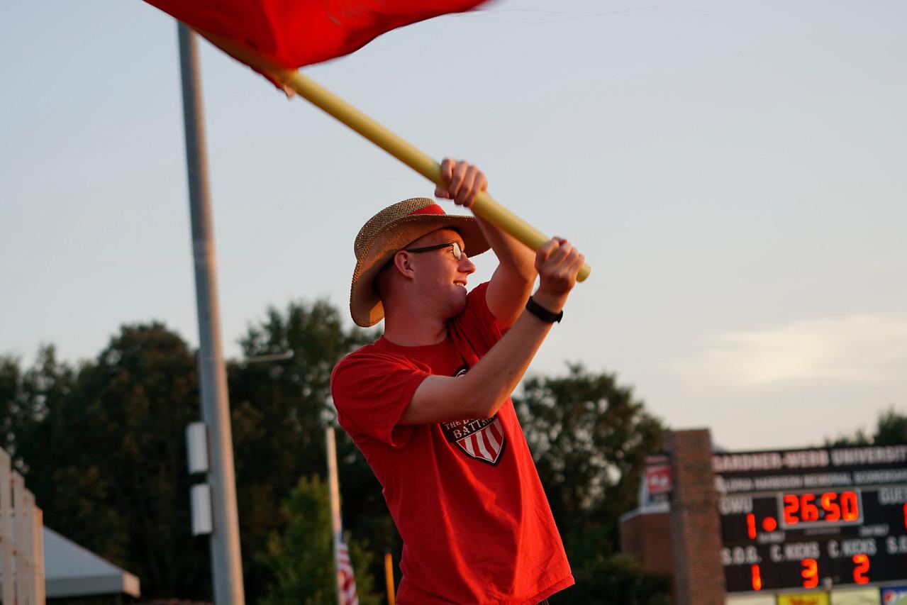 Fan, Cory Meegs, cheers on the Bulldogs as they take the score 2-0. Gardner Webb v. Furman 9/13/16