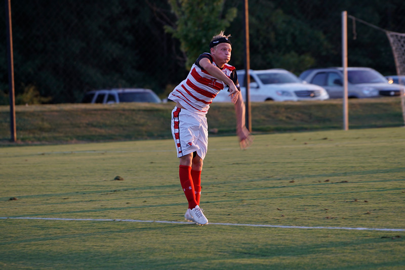 Isak Reinhardsen, #3, throws in the ball to teammates to take up the field. Gardner Webb v. Furman 9/13/16