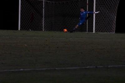 Matthew Swan, #1, kicks the ball up the field away from the Bulldog's goal. Gardner Webb v. Furman 9/13/16