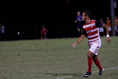 Sami Jilla, #17, looks to head to receive the ball.  Gardner Webb v. Furman 9/13/16