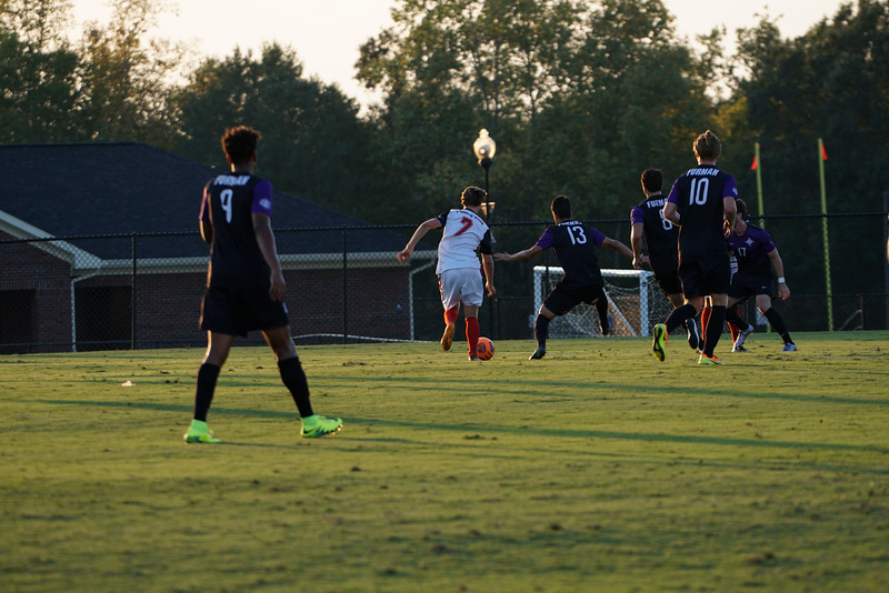 Magnus Moldjord, #7, races to get the ball before Furman takes it too far.  Gardner Webb v. Furman 9/13/16