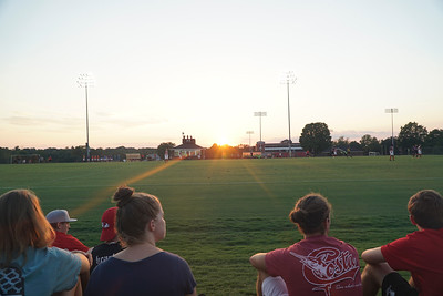 Fans sitting and relaxing with a sunset at the half.  Gardner Webb v. Furman 9/13/16